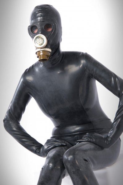 Heavy Rubber Latex Catsuit With Gas Mask From 1mm Thickness
