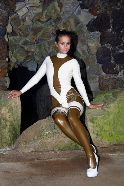 Latex catsuit Temptation with stockings made to measure