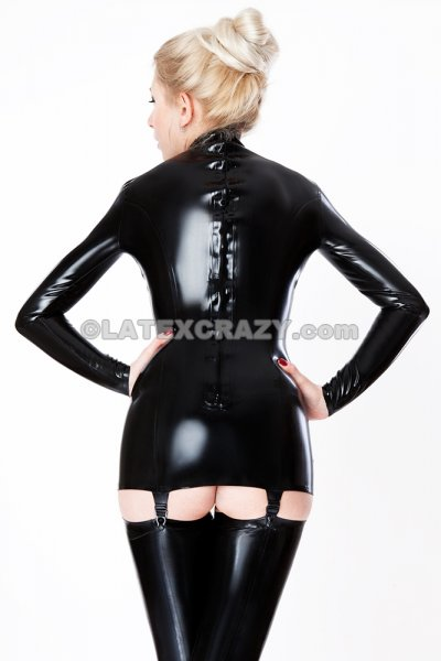 Latex Suspender Dress And Stockings